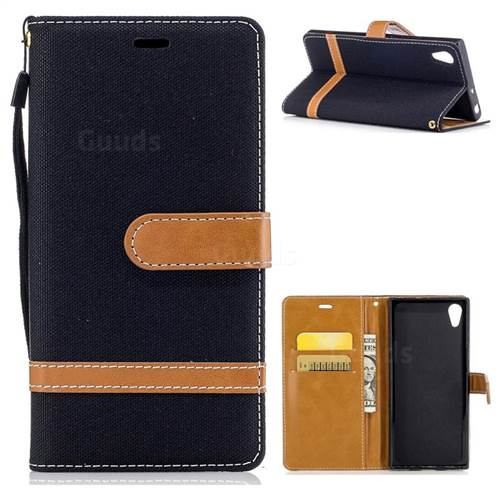 Jeans Cowboy Denim Leather Wallet Case for Sony Xperia XA1 - Black