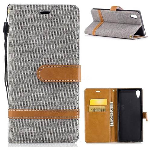 Jeans Cowboy Denim Leather Wallet Case for Sony Xperia XA1 - Gray
