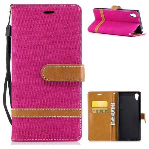Jeans Cowboy Denim Leather Wallet Case for Sony Xperia XA1 - Rose