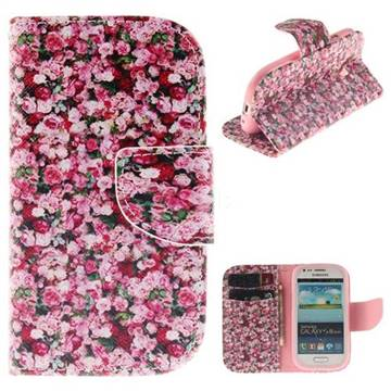 Intensive Floral PU Leather Wallet Case for Samsung Galaxy S3 Mini i8190