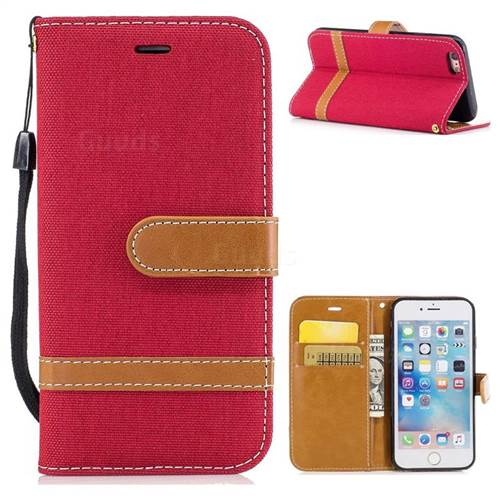 Jeans Cowboy Denim Leather Wallet Case for iPhone 6s 6 6G(4.7 inch) - Red