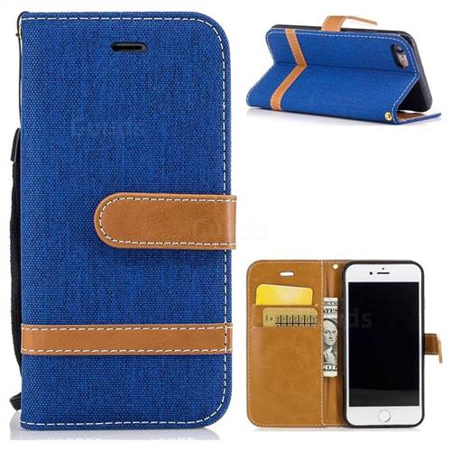 Jeans Cowboy Denim Leather Wallet Case for iPhone 7 7G(4.7 inch) - Sapphire