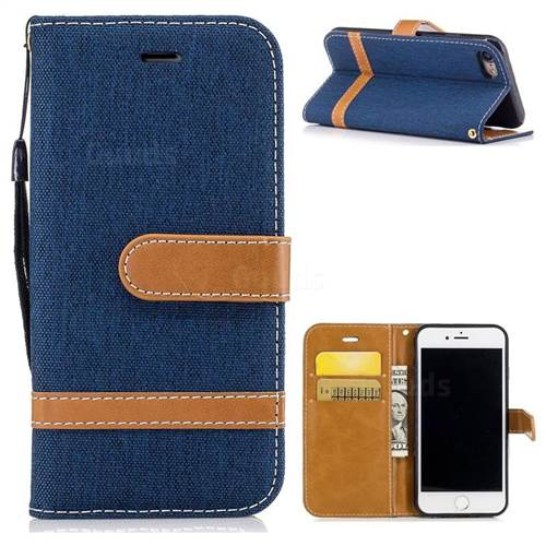 Jeans Cowboy Denim Leather Wallet Case for iPhone 7 7G(4.7 inch) - Dark Blue