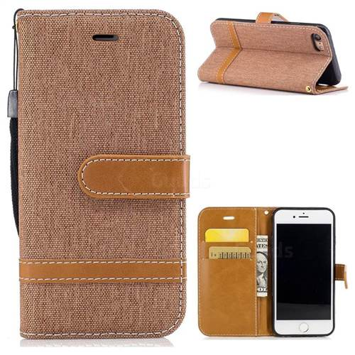Jeans Cowboy Denim Leather Wallet Case for iPhone 7 7G(4.7 inch) - Brown