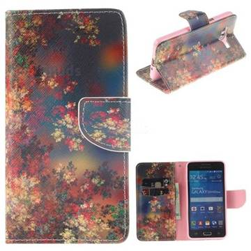 Colored Flowers PU Leather Wallet Case for Samsung Galaxy Grand Prime G530