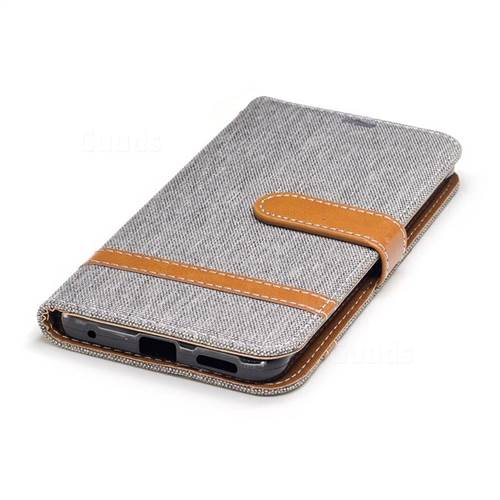 Jeans Cowboy Denim Leather Wallet Case for LG G6 - Gray