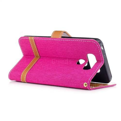 Jeans Cowboy Denim Leather Wallet Case for LG G6 - Rose