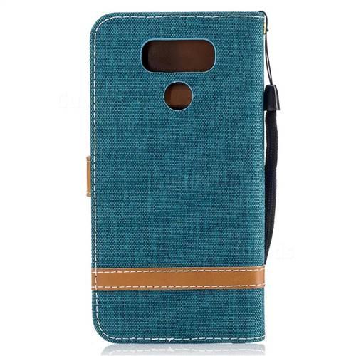 Jeans Cowboy Denim Leather Wallet Case for LG G6 - Green