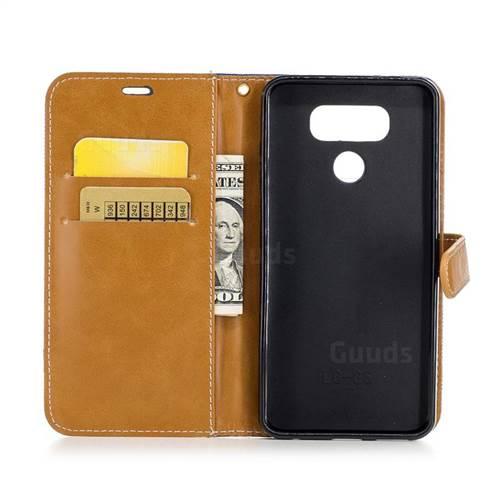 Jeans Cowboy Denim Leather Wallet Case for LG G6 - Sapphire