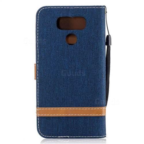 Jeans Cowboy Denim Leather Wallet Case for LG G6 - Dark Blue