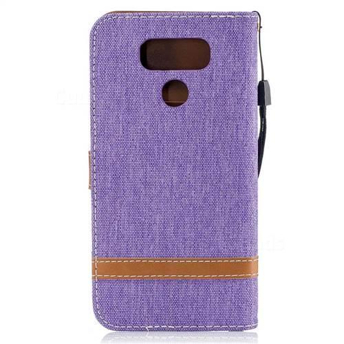 Jeans Cowboy Denim Leather Wallet Case for LG G6 - Purple