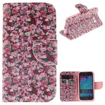 Intensive Floral PU Leather Wallet Case for Samsung Galaxy J1 2015 J100