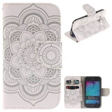 White Flowers PU Leather Wallet Case for Samsung Galaxy J1 2015 J100