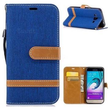 Jeans Cowboy Denim Leather Wallet Case for Samsung Galaxy J3 2016 J320 - Sapphire