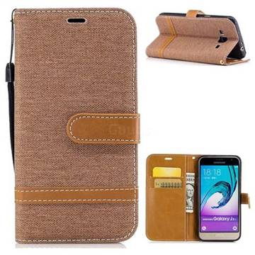 Jeans Cowboy Denim Leather Wallet Case for Samsung Galaxy J3 2016 J320 - Brown