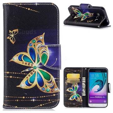 Golden Shining Butterfly Leather Wallet Case for Samsung Galaxy J3 2016 J320