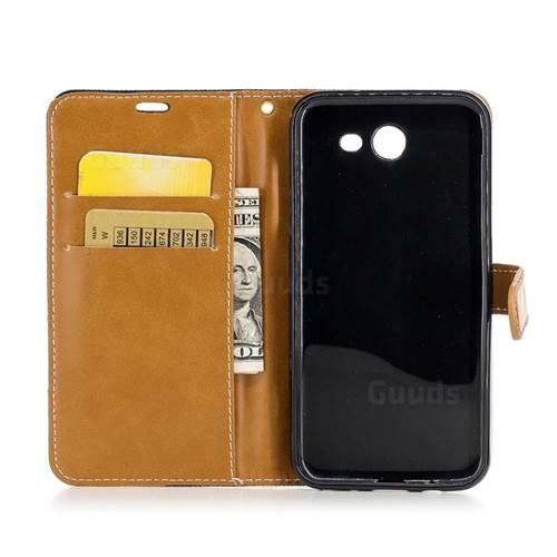 Jeans Cowboy Denim Leather Wallet Case for Samsung Galaxy J3 2017 J330 - Black