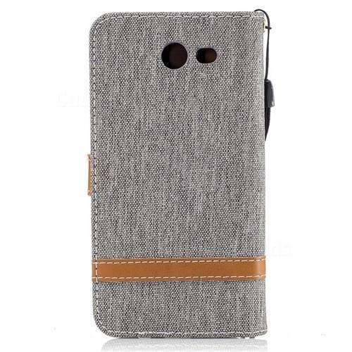 Jeans Cowboy Denim Leather Wallet Case for Samsung Galaxy J3 2017 J330 - Gray