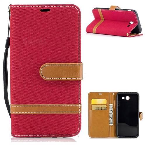 Jeans Cowboy Denim Leather Wallet Case for Samsung Galaxy J3 2017 J330 - Red
