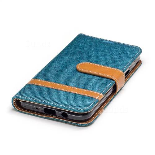 Jeans Cowboy Denim Leather Wallet Case for Samsung Galaxy J3 2017 J330 - Green