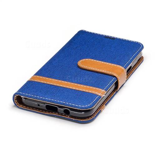 Jeans Cowboy Denim Leather Wallet Case for Samsung Galaxy J3 2017 J330 - Sapphire