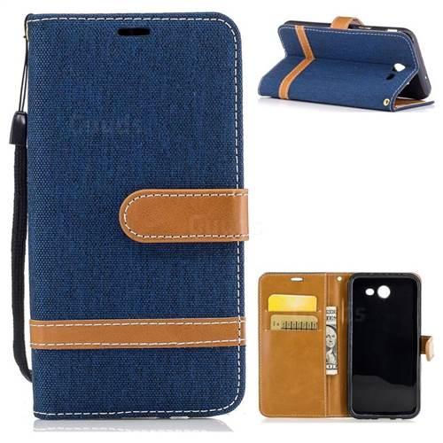 Jeans Cowboy Denim Leather Wallet Case for Samsung Galaxy J3 2017 J330 - Dark Blue