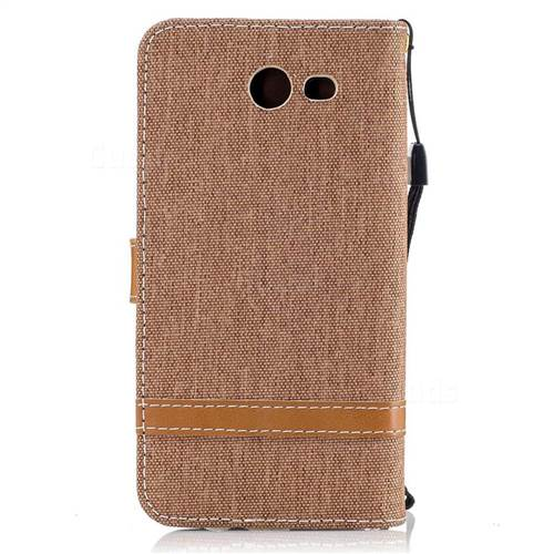 Jeans Cowboy Denim Leather Wallet Case for Samsung Galaxy J3 2017 J330 - Brown