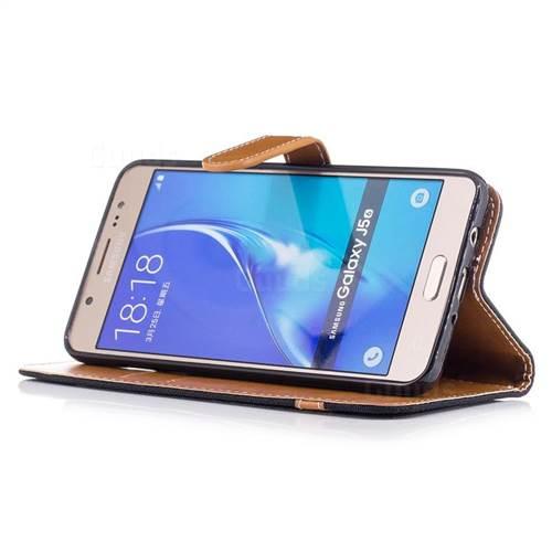 Jeans Cowboy Denim Leather Wallet Case for Samsung Galaxy J5 2016 J510 - Black