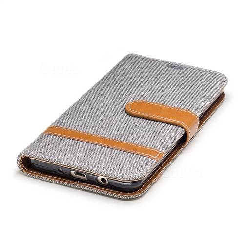 Jeans Cowboy Denim Leather Wallet Case for Samsung Galaxy J5 2016 J510 - Gray