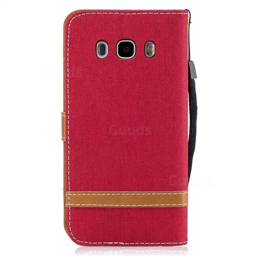 Jeans Cowboy Denim Leather Wallet Case for Samsung Galaxy J5 2016 J510 - Red