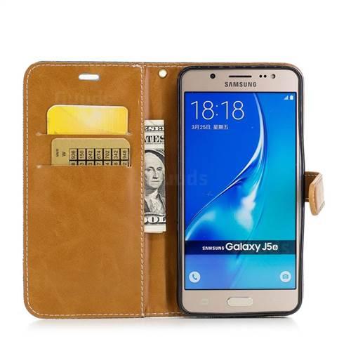 Jeans Cowboy Denim Leather Wallet Case for Samsung Galaxy J5 2016 J510 - Green