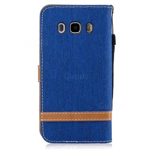 Jeans Cowboy Denim Leather Wallet Case for Samsung Galaxy J5 2016 J510 - Sapphire