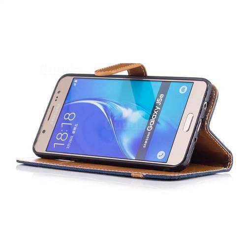 Jeans Cowboy Denim Leather Wallet Case for Samsung Galaxy J5 2016 J510 - Dark Blue
