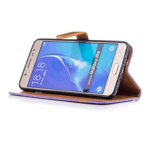 Jeans Cowboy Denim Leather Wallet Case for Samsung Galaxy J5 2016 J510 - Purple