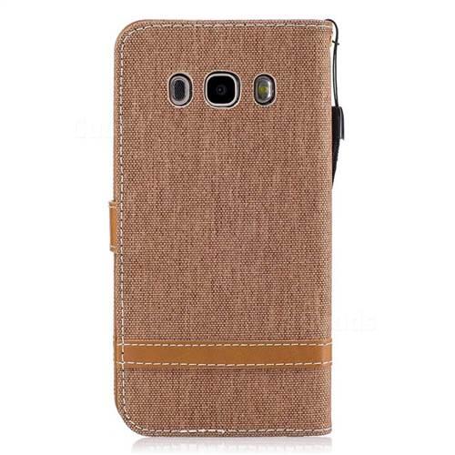 Jeans Cowboy Denim Leather Wallet Case for Samsung Galaxy J5 2016 J510 - Brown