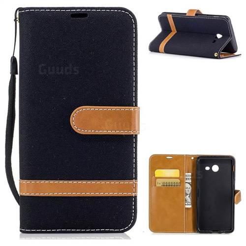 Jeans Cowboy Denim Leather Wallet Case for Samsung Galaxy J5 2017 J530 - Black