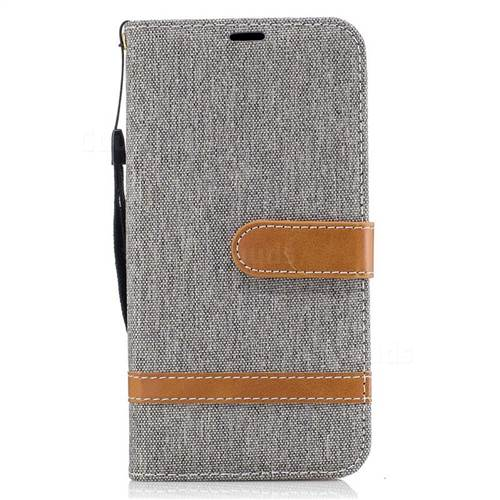 Jeans Cowboy Denim Leather Wallet Case for Samsung Galaxy J5 2017 J530 - Gray
