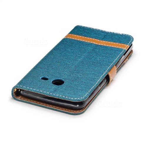 Jeans Cowboy Denim Leather Wallet Case for Samsung Galaxy J5 2017 J530 - Green