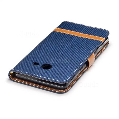 Jeans Cowboy Denim Leather Wallet Case for Samsung Galaxy J5 2017 J530 - Dark Blue