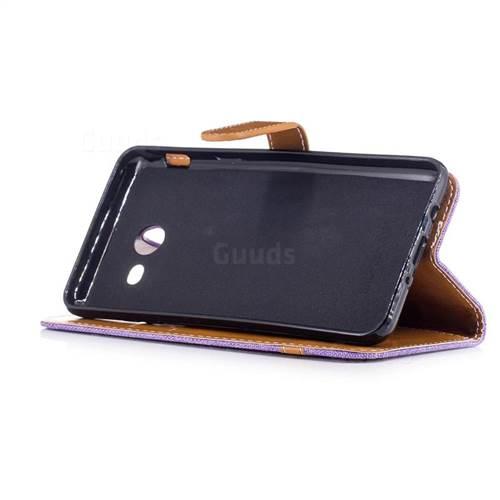 Jeans Cowboy Denim Leather Wallet Case for Samsung Galaxy J5 2017 J530 - Purple