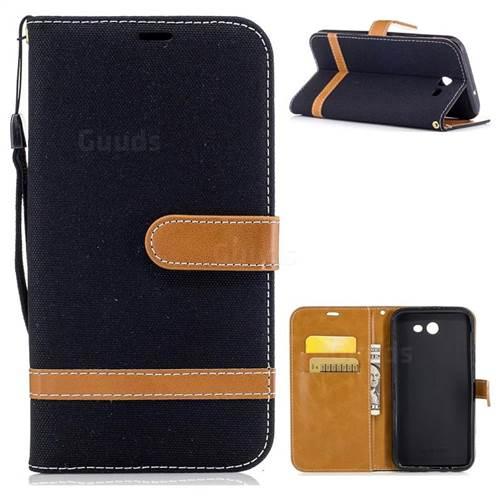 Jeans Cowboy Denim Leather Wallet Case for Samsung Galaxy J7 2017 J730 - Black