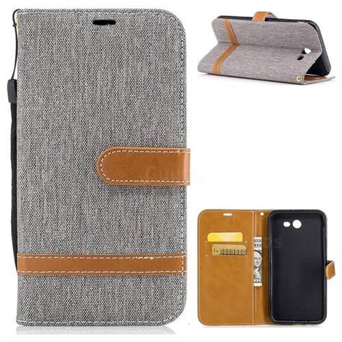Jeans Cowboy Denim Leather Wallet Case for Samsung Galaxy J7 2017 J730 - Gray