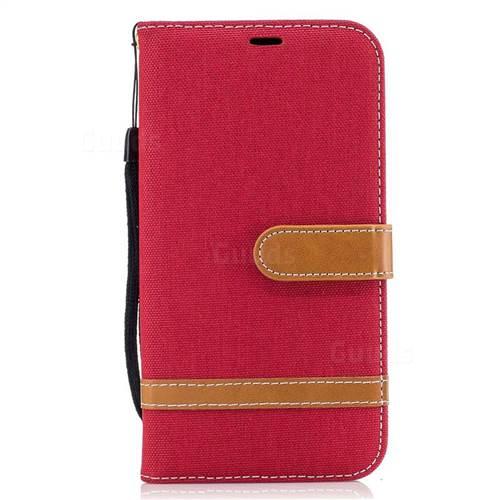 Jeans Cowboy Denim Leather Wallet Case for Samsung Galaxy J7 2017 J730 - Red