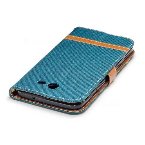 Jeans Cowboy Denim Leather Wallet Case for Samsung Galaxy J7 2017 J730 - Green
