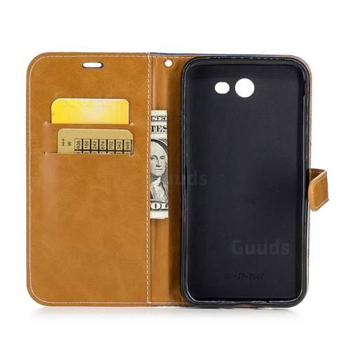 Jeans Cowboy Denim Leather Wallet Case for Samsung Galaxy J7 2017 J730 - Sapphire