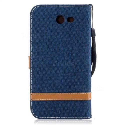 Jeans Cowboy Denim Leather Wallet Case for Samsung Galaxy J7 2017 J730 - Dark Blue