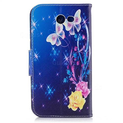 Yellow Flower Butterfly Leather Wallet Case for Samsung Galaxy J7 2017 J730