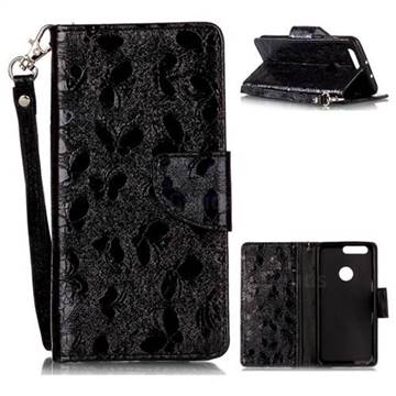 Luxury Laser Butterfly Optical Maser Leather Wallet Case for Huawei Honor 8 - Black