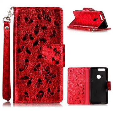 Luxury Laser Butterfly Optical Maser Leather Wallet Case for Huawei Honor 8 - Red