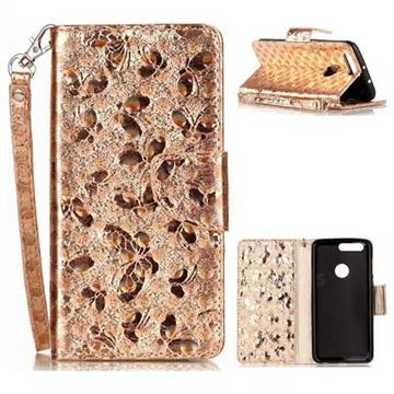 Luxury Laser Butterfly Optical Maser Leather Wallet Case for Huawei Honor 8 - Golden
